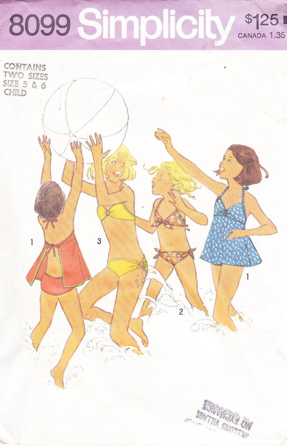1977 Girls Vintage Pattern, Two Piece Bathing Suit and Swim Dress