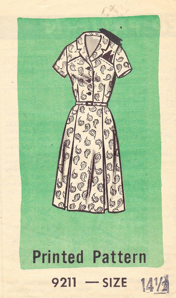 1960s Vintage Pattern, Button Front Dress with Notched Shawl Collar, Sleeve Variations,  Inverted Pleat Skirt and Novelty Breast Pockets