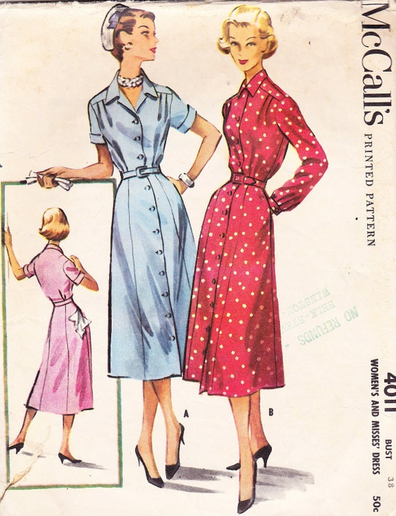 1957 Shirtwaist Dress Vintage Pattern, Rockabilly Flared Gored Skirt, Pleated Yoke, Pointed Collar, Long or Short Cuffed Sleeves