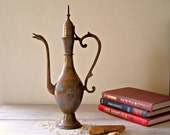 Russian copper Pitcher, Vintage decorative tall pitcher