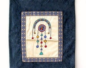 Blue wall Art, Vintage Israeli Style decor, handmade embroidered wall art Listed By MeshuMaSH on Etsy