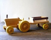Vintage  Kids Tractor toy with a trailer, Whole wood Handmade and safe for kids use, Listed by MeshuMaSH on Etsy
