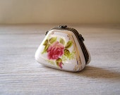 Vintage Miniature Purse, Victorian Style porcelain collectible miniature