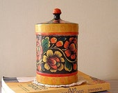 Painted Flowers Jar, Whole wood flowers round container, 1990 Made in Russia Listed by MeshuMaSH on Etsy