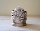 Mid century Silver plated Glass holder, Victorian style tableware