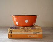 Polkadot enamel Bowl, Vintage Orange rustic bowl white dots