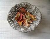Vintage Chunky Bowl, Silver tone flowers Bowl