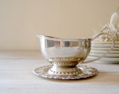 Vintage Gravy boat and Saucer , USSR stainless steel gravy set