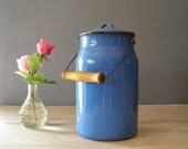Enamel Milk Jar, Vintage blue rustic jar