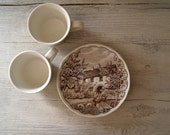 Vintage Tea Cup and Saucer set, Swiss Landscape White Brown Porcelain, Victorian Tea Serving for 2, Mid Century Collectible Drinkware