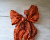 Orange Silk Scarf, Vintage Light Spring scarf