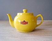 """Vintage Yellow teapot, Ceramic """"Lipton"""" Teapot"""