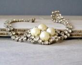 Retro Bridal Choker, Glamor pearls and rhinestones Necklace