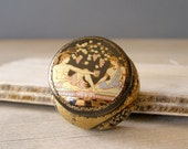 Vintage porcelain Trinket,  Ancient Greece black and gold tiny charm box