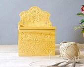 Wood Salt Box, Vintage Russian salt box, hand carved