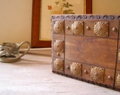 Vintage wood box, Wood and copper rustic Box