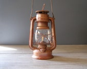Brown Lantern Lamp, Vintage rustic brown Railroad Lamp