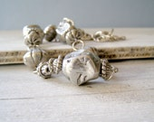 Chunky Boho Necklace, Vintage silver tone retro Necklace