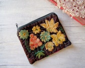 Vintage embroidered Pouch, black velvet and colorful flowers purse