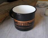 Black Enamel Pot, Vintage rustic big mug, Vintage planter