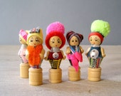 Vintage Pencil toppers, small woman figurines tops