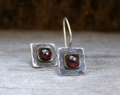 Red Ruby earrings, Silver and gold, Vintage OOAK  designer, square shape, accessories, for her, designer one of a kind