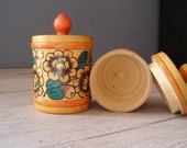 Folk art Jars, Vintage wood colorful flowers jars, Made in USSR