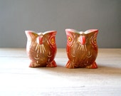 Vintage wood Owls, colorful owl figurines, folk art owls, Woodland rustic decor, Cottage chic
