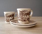 Tea for two, Vintage brown porcelain cups
