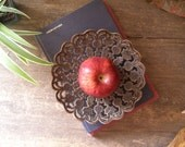 Vintage copper serving plate, made in India, flowers lace patern, Listed by MeshuMaSH on Etsy