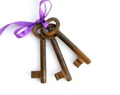 Vintage skeleton Keys,  3 Rusted keys, craft and art projects, mid century home decor, cottage chic