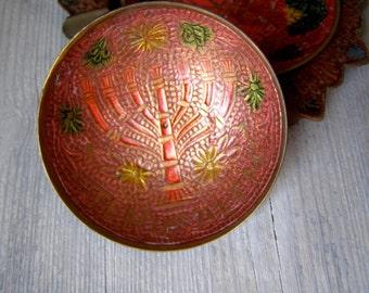 Red Enamel Israel Menorah Small Plate, vintage JERUSALEM Decor, Collectible Mediterranean Judaica Jewish Decor, Seven Branch Candelabrum