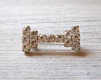 Art Deco Clear Rhinestone brooch, Abstract Bow shiny Brooch, Tiny minimal retro pin Brooch, retro woman accessories, 60s mad men inspired