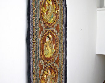 Vintage India Banjara, Ethnic Embroidered Shiva Wall Art, Handmade Asian Fabric Art Runner, Hindu Colorful Decor, India Crafted Textile Art