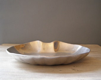 Vintage Pewter Display Tray, Shell shape platter, Heart  Fruit bowl, Mid century modern Tableware, Christmas gift, Hostess gift
