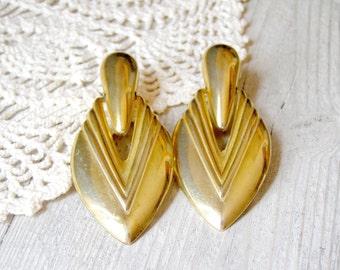 Retro Clip Earrings, Gold metal leaves earrings