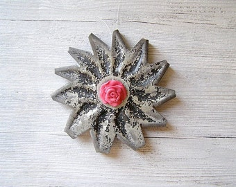 Salvaged Wall Hanging Silver Pink Flower, Industrial wall Or Garden decoration, Upcycled Mechanical Decor,  Polymer clay Art, Tree Ornament