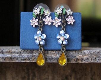 Boho Flower Drop Earrings, Romantic Victorian Country Long Dangle Earrings, Colorful Enamel stud Earrings Metal Jewelry, Gift for Girl Woman