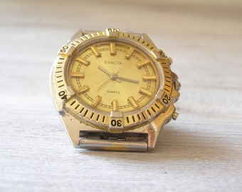 Vintage Man Watch, golden shade , chunky retro watch, mid century for man