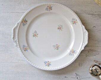 Shabby chic  Platter, Vintage Porcelain, delicate flowers decoration platter, mid century tableware, wedding, housewarming