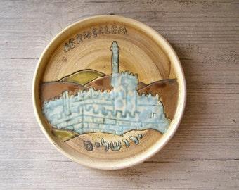 Jerusalem Wall Plate, Vintage decorative ceramic plate