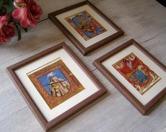 Vintage Mythic framed print Set of 3, fantasy mythological Art, Framed wall hanging  collection, Antique scene illustration, Cottage chic