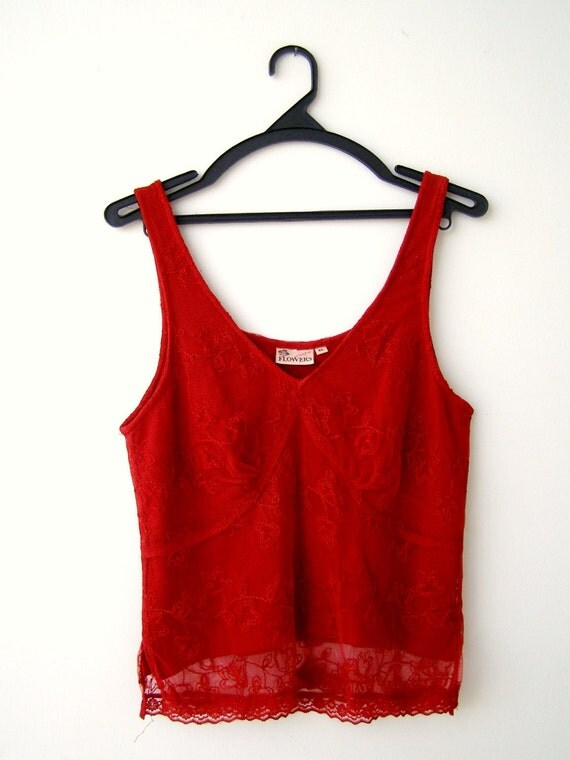 Vintage Red Camisole Top,  two layers Romantic deep red Singlet Listed by MeshuMaSH on Etsy