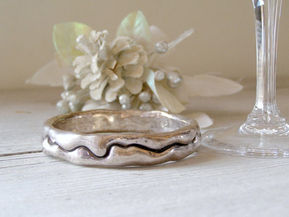 Sterling silver Bracelet, Vintage 925 silver abstract chunky bracelet, Hostess gift, Winter jewelry, Wife gift