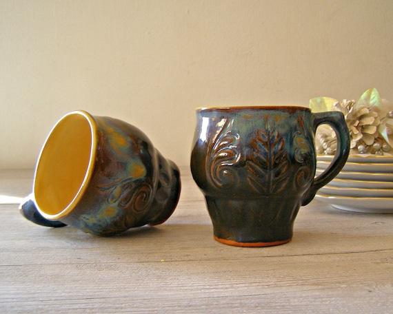 Blue Ceramic Mugs made in USSR