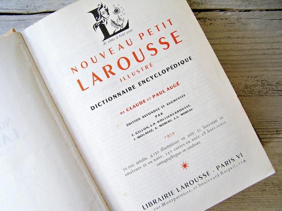 Antique French LAROUSSE, 1957 Dictionary Encyclopedia, Paper ephemera, scrapbooking