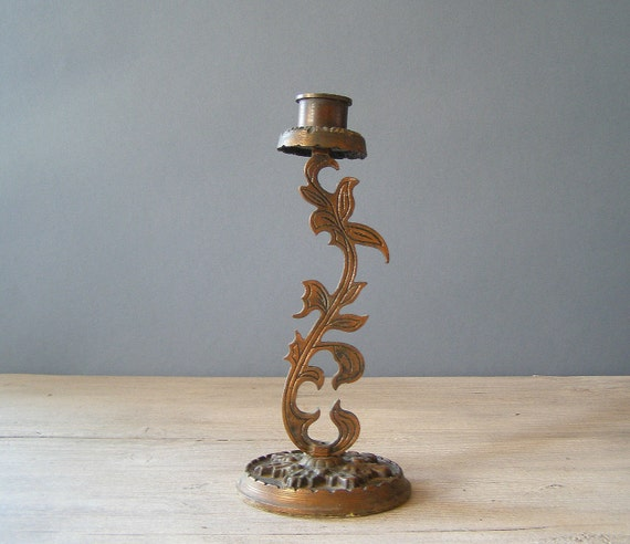 Vintage Flower Candlestick, Cast iron candlestick