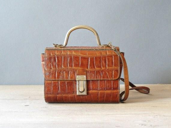 Retro Leather handbag, Vintage Brown Purse