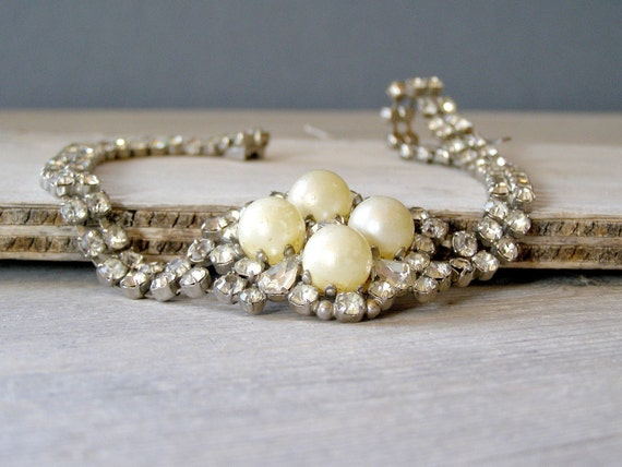 Retro Bridal Choker, Glamor pearls and rhinestones Necklace