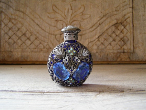 Decorative Perfume Bottle, Vintage blue glass and silver small bottle